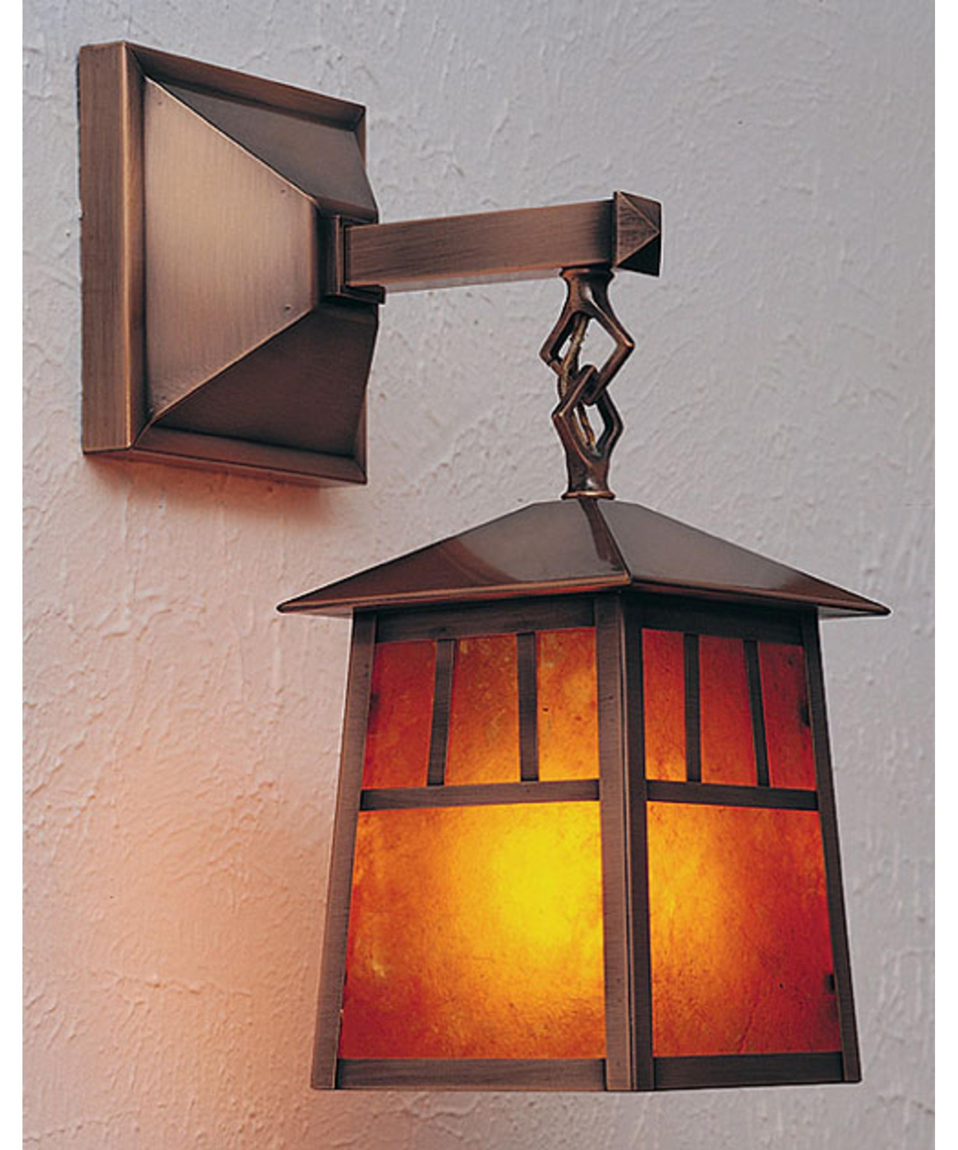 Shown In Antique Copper Finish With Amber Mica Glass