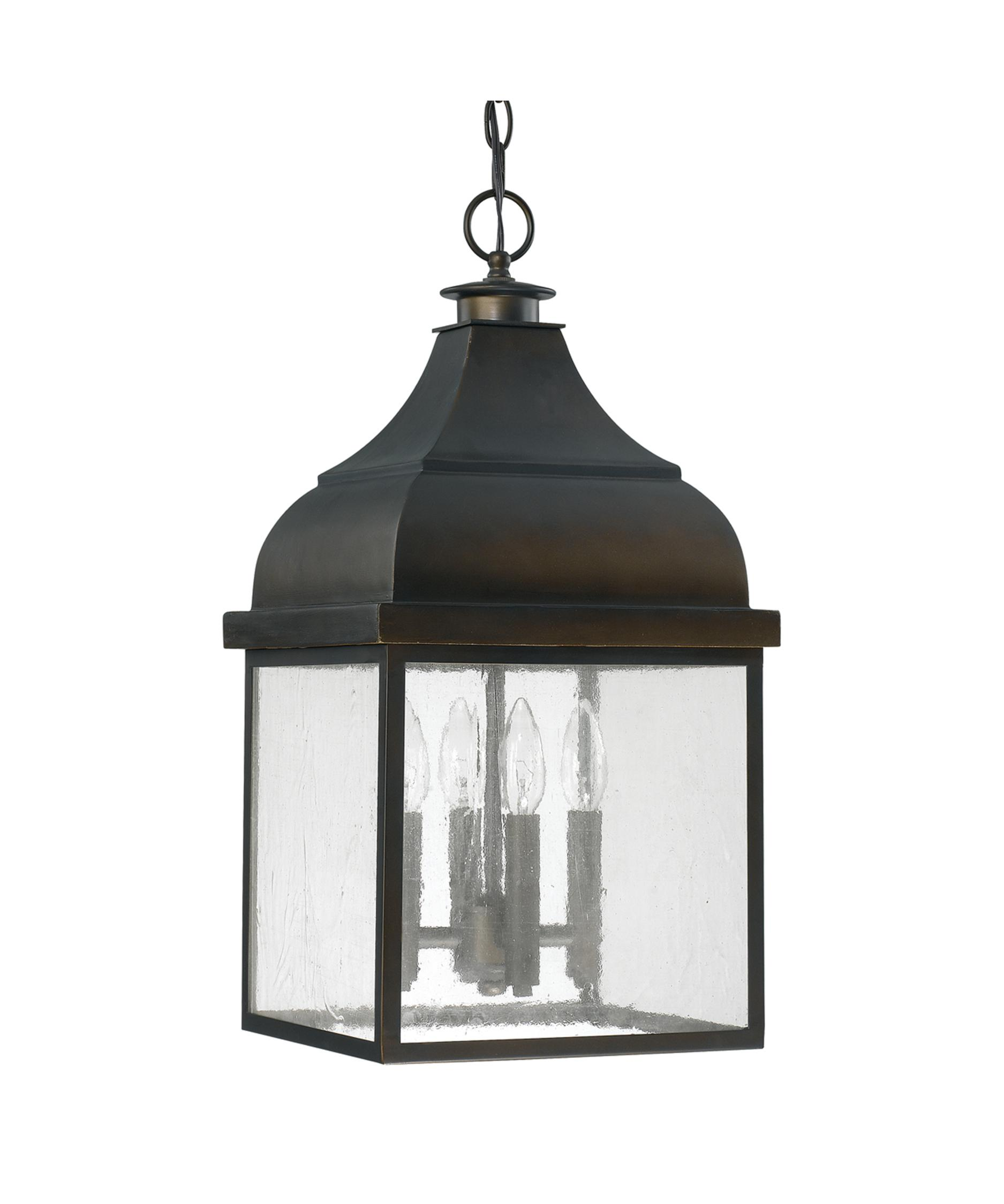 Outdoor hanging lamp - Shown In Old Bronze Finish And Clear Antique Glass