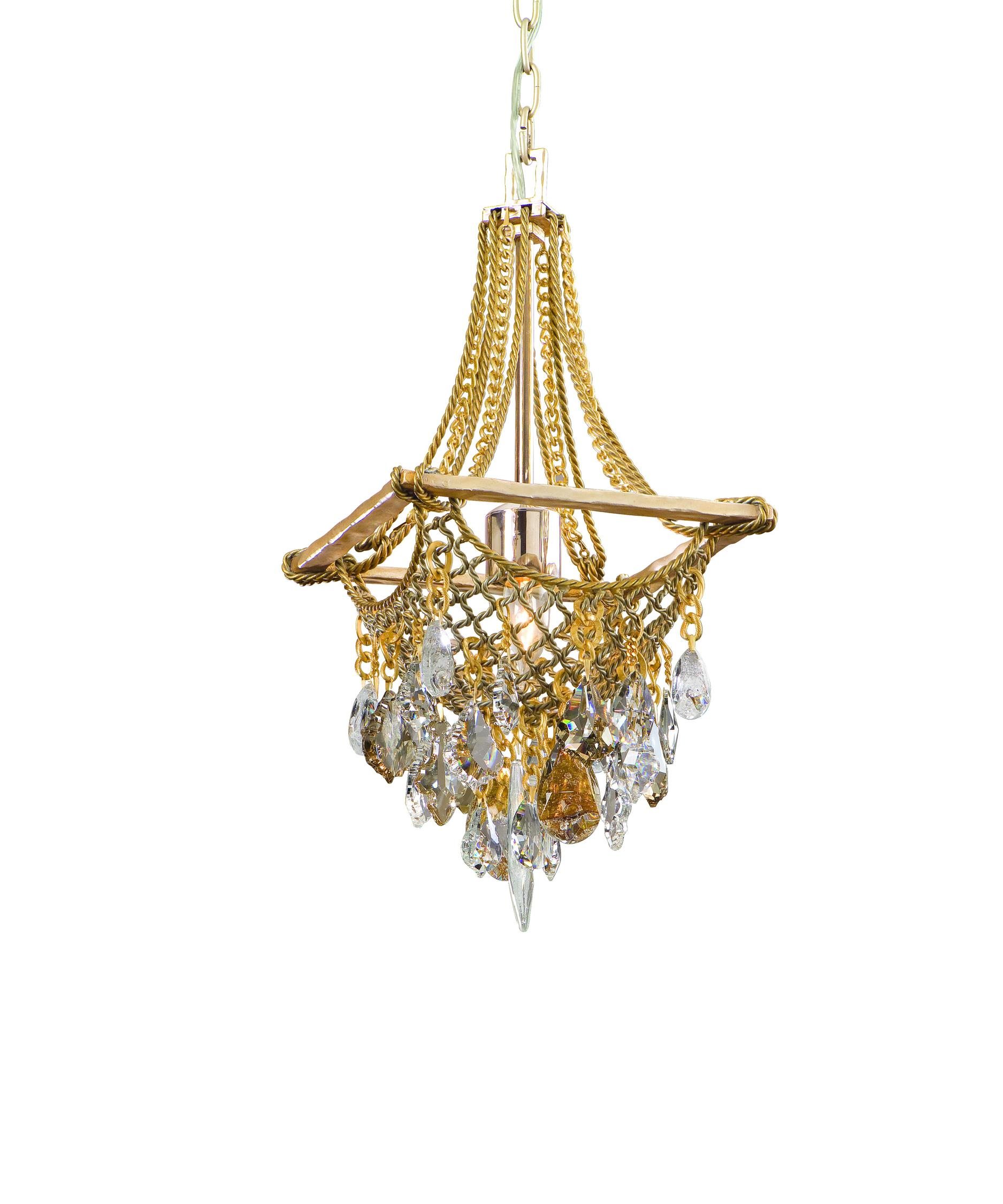 shown in silver and gold leaf finish - Corbett Lighting
