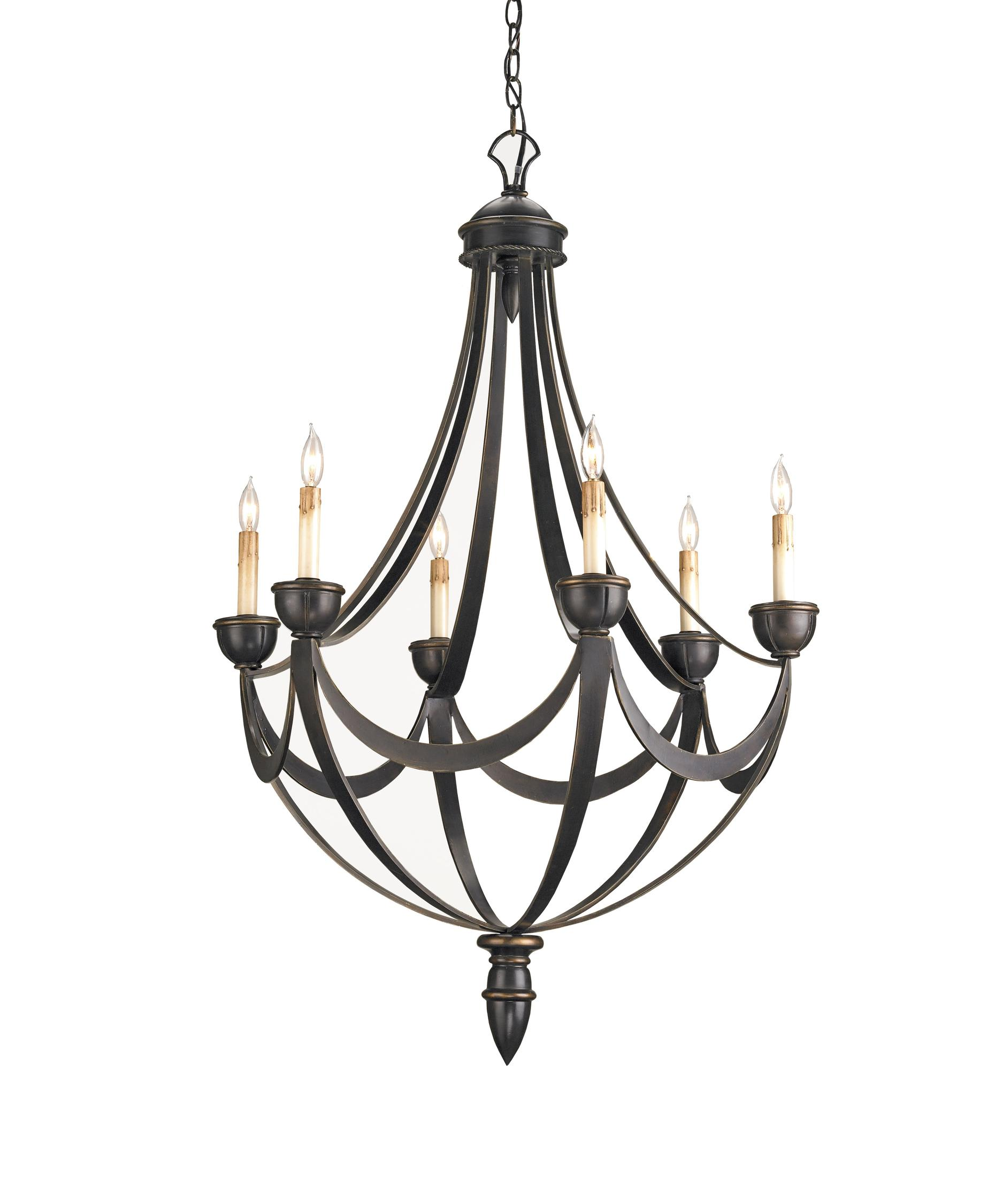 Currey and Company Palomino 28 Inch Wide 6 Light Chandelier – Currey and Company Lighting Chandeliers