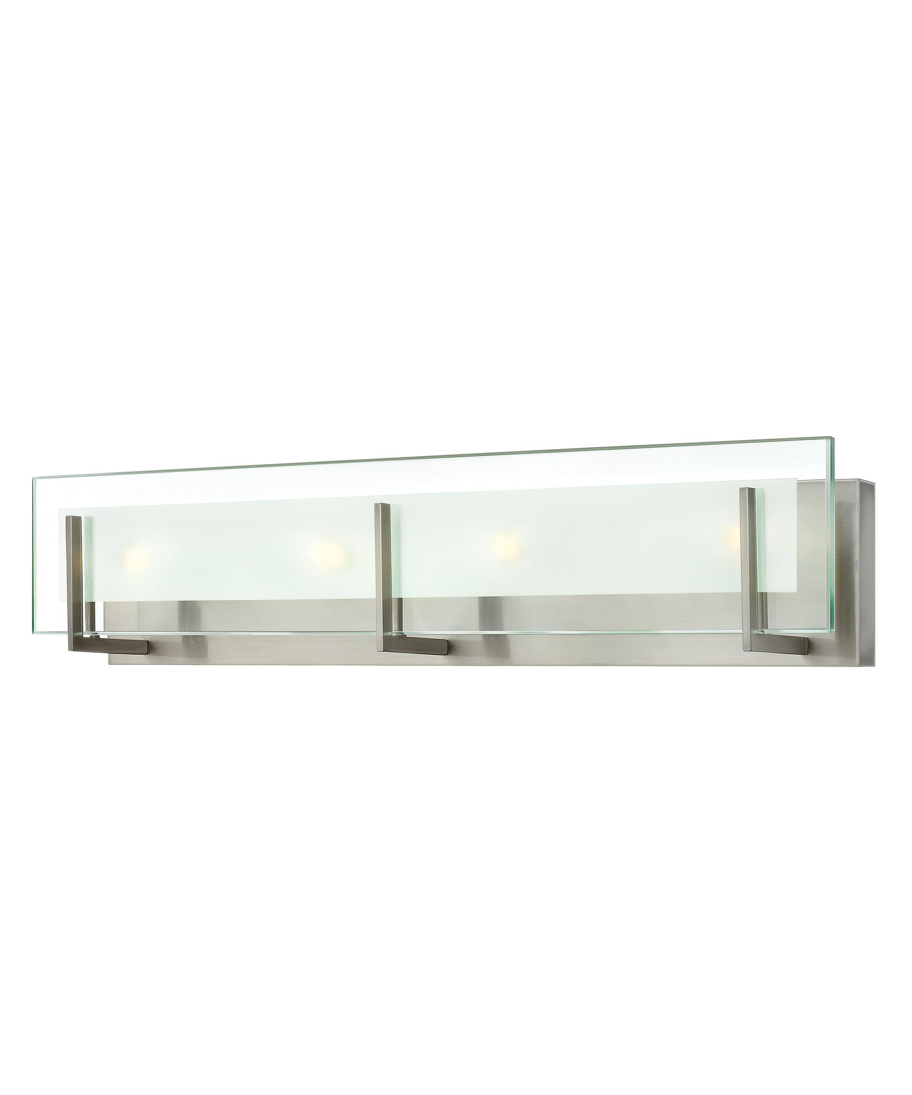 shown in brushed nickel finish and clear beveled glass