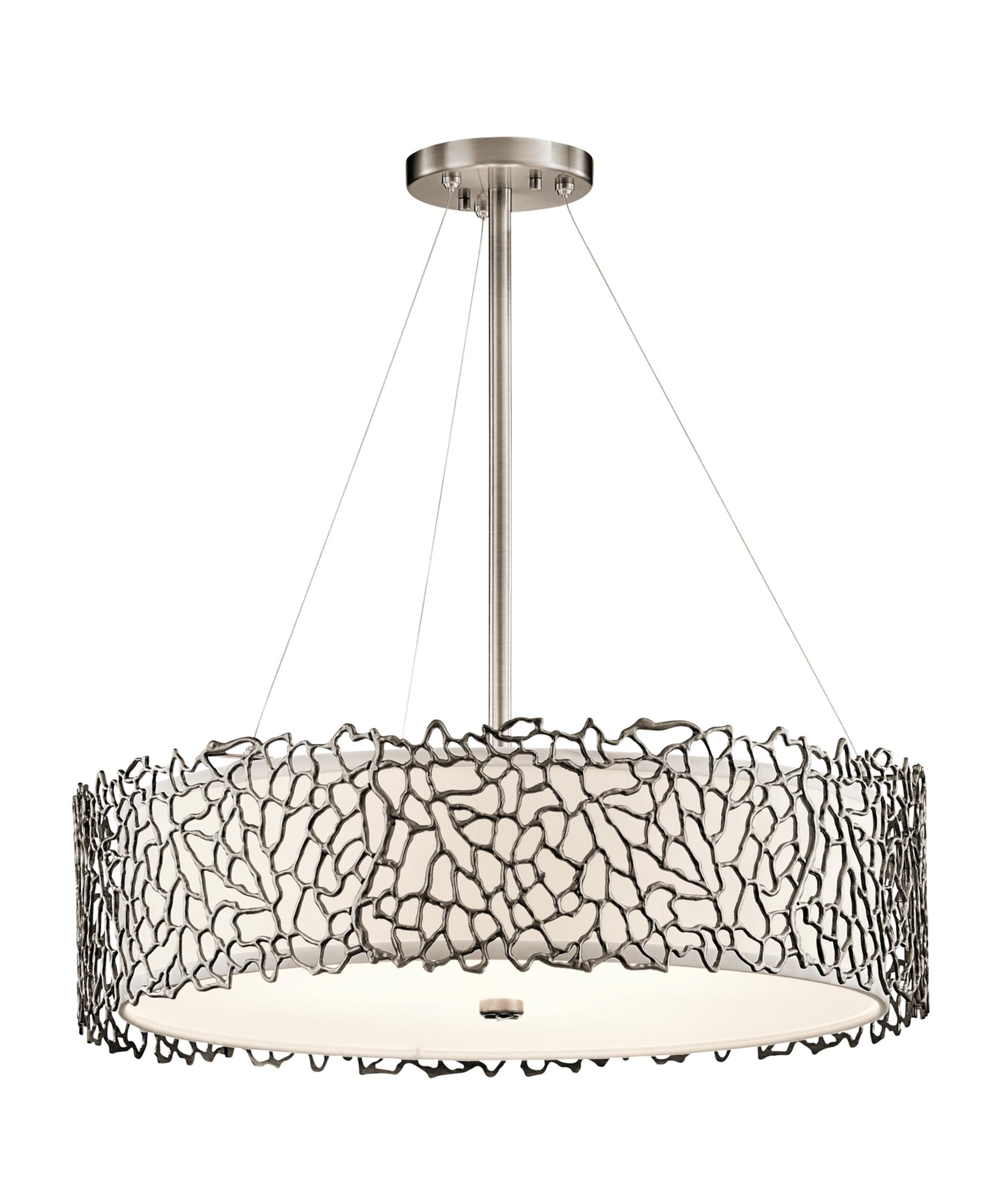 Kichler Silver Coral 22 Inch Wide 4 Light Large Pendant – Coral Chandelier