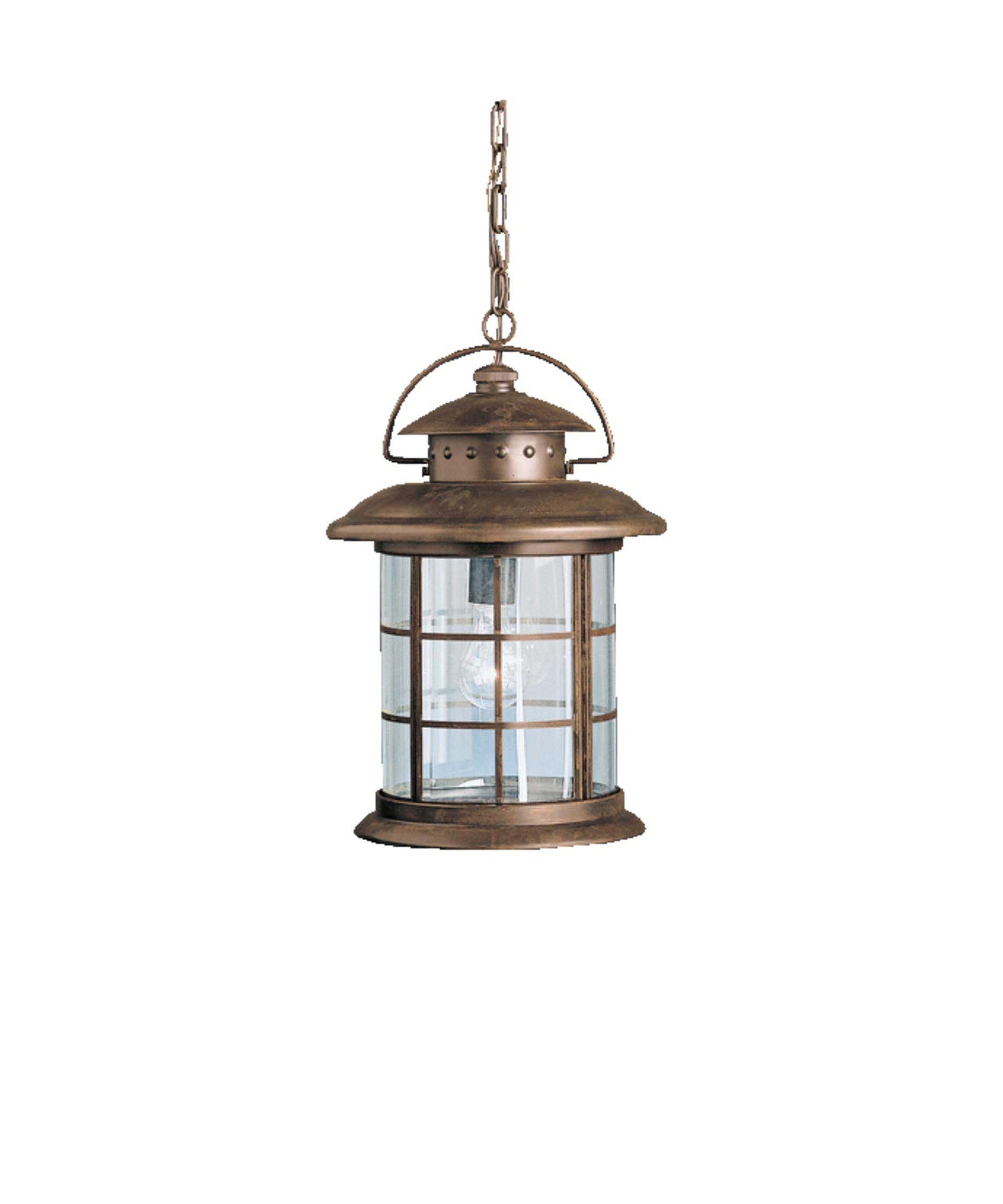 Outdoor hanging lamp - Shown In Rustic Finish And Clear Beveled Glass