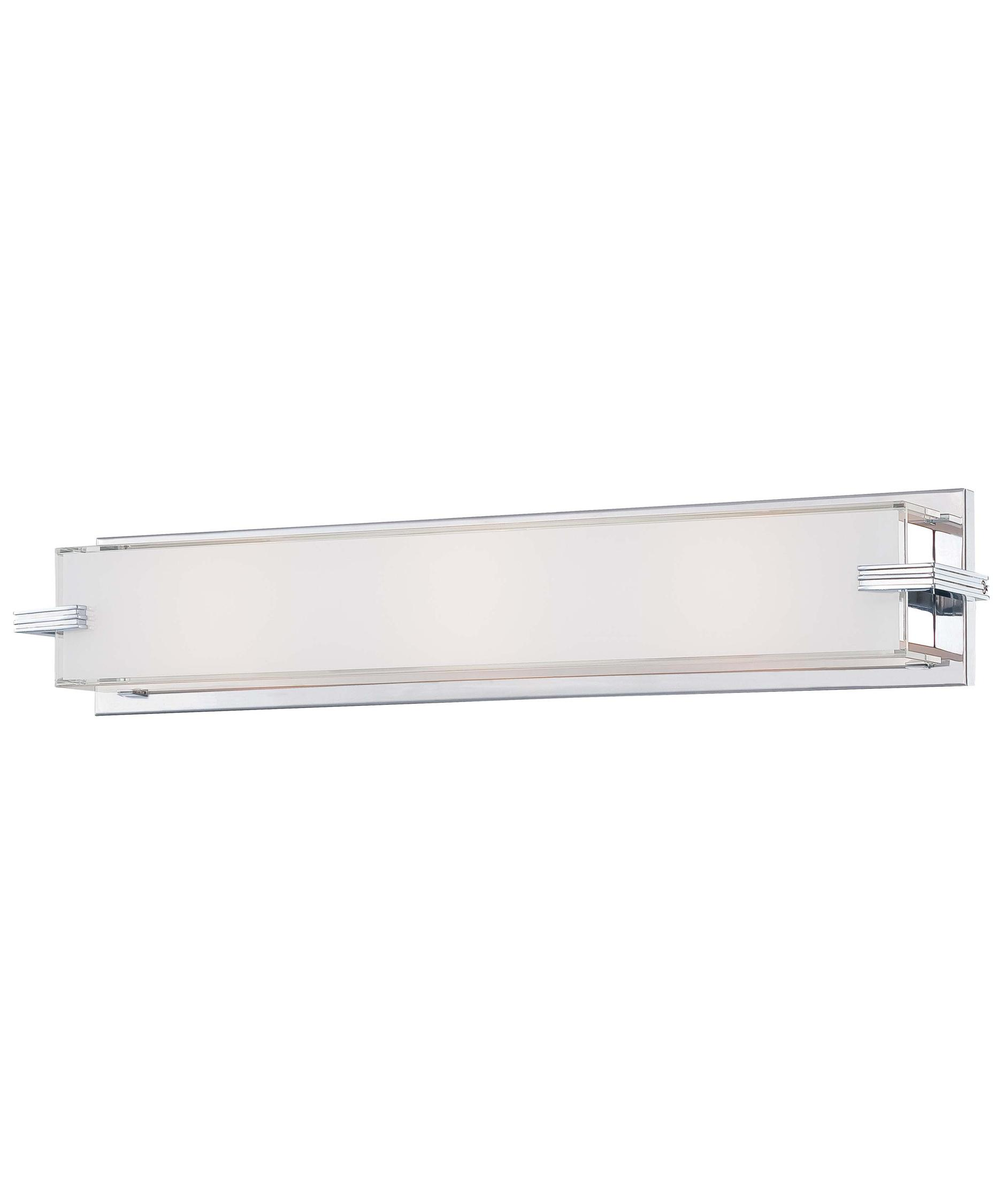 shown in chrome finish and mitered and white inside glass bathroom vanity lighting 1