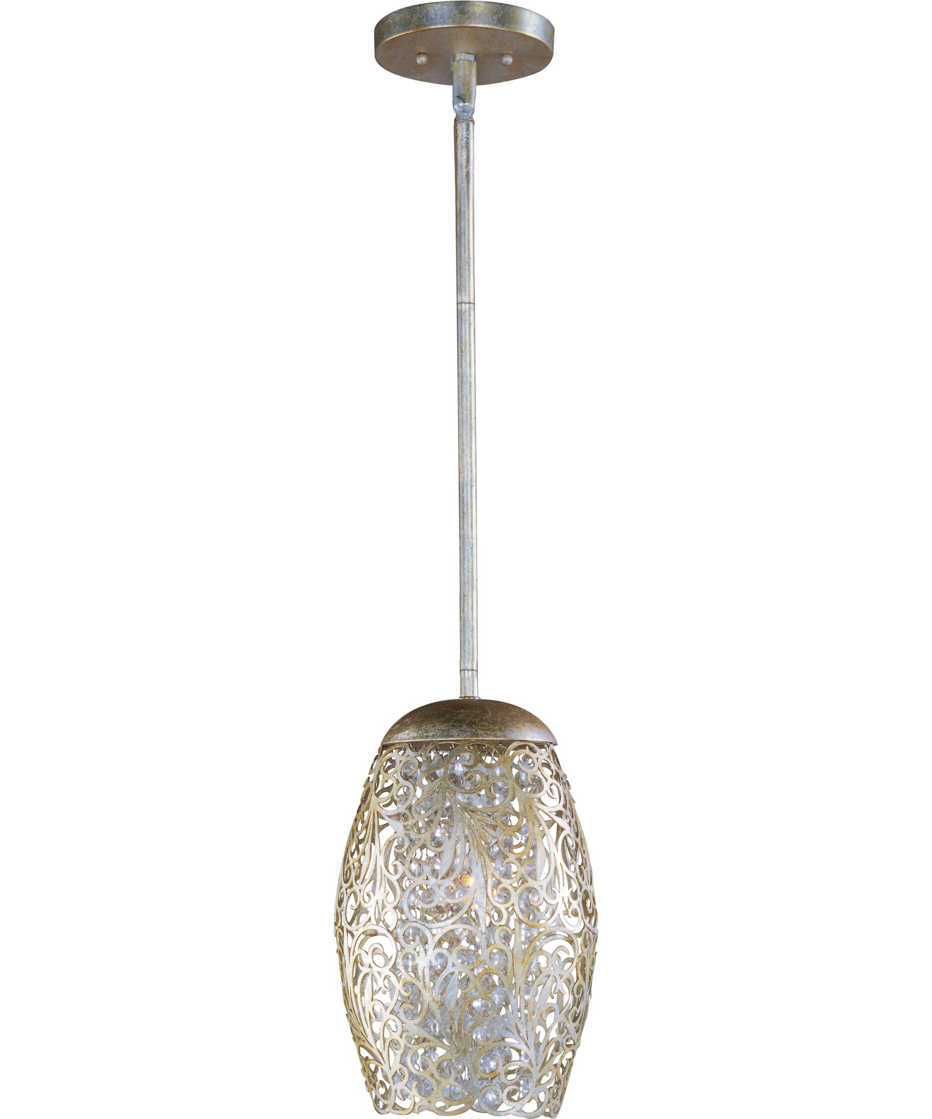 modern mini pendant lighting. shown in golden silver finish and beveled crystal modern mini pendant lighting
