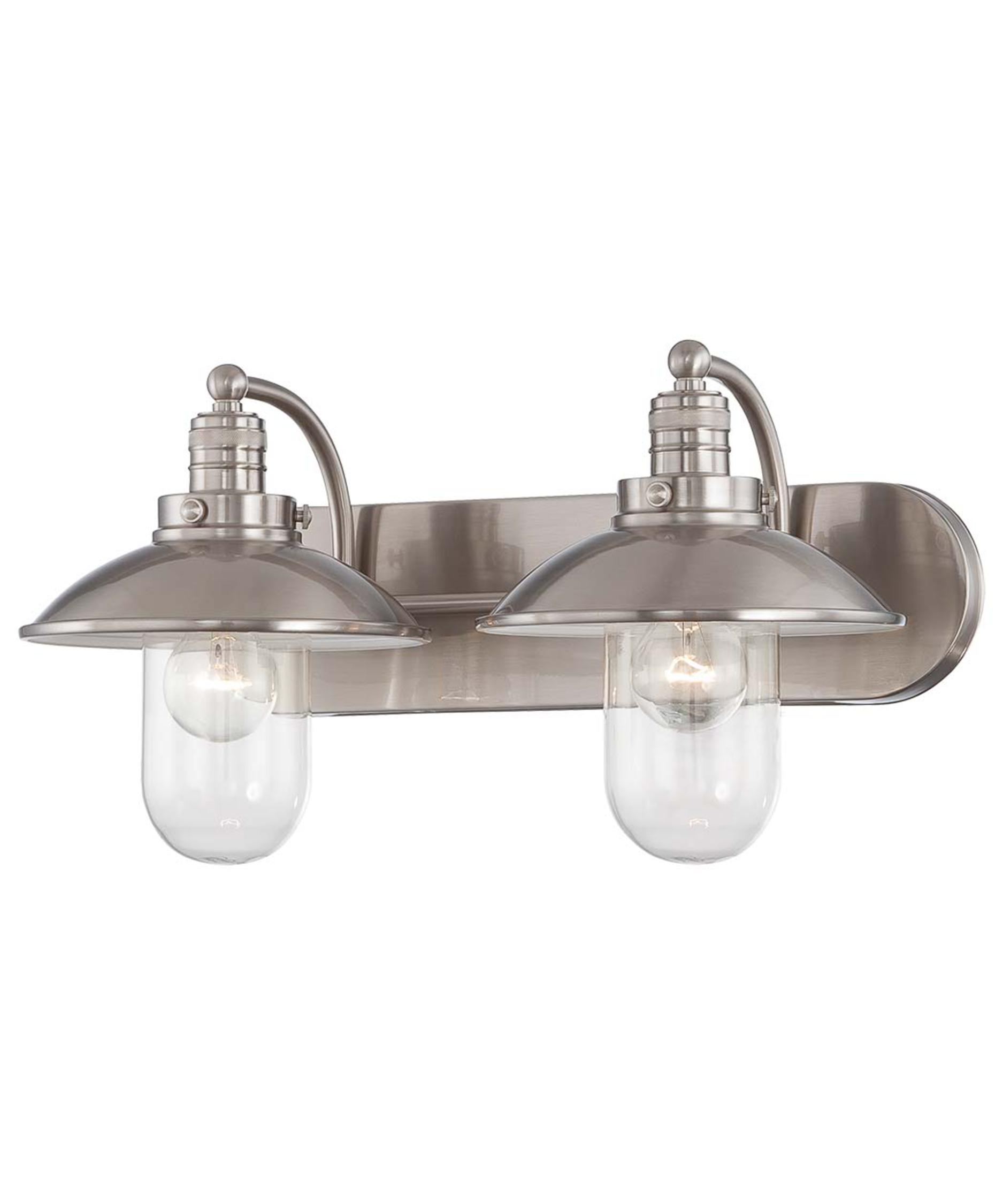 Brushed nickel bathroom lights - Shown In Brushed Nickel Finish And Clear Glass