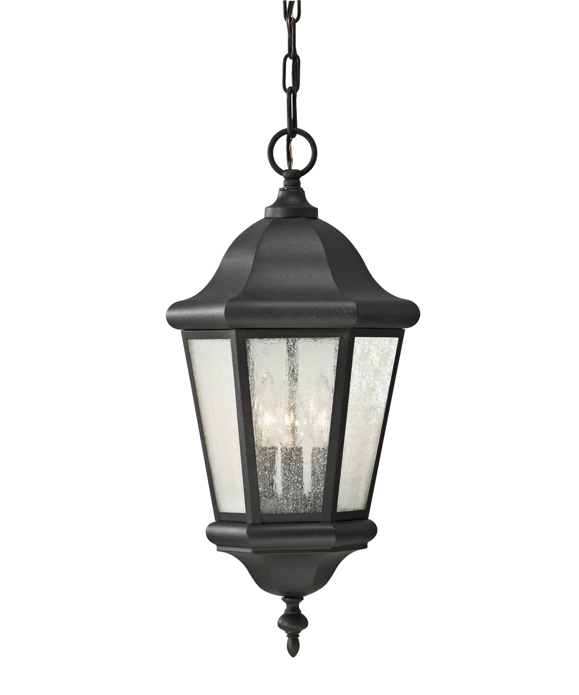 Outdoor hanging lamp - Shown In Black Finish And Clear Seeded Glass