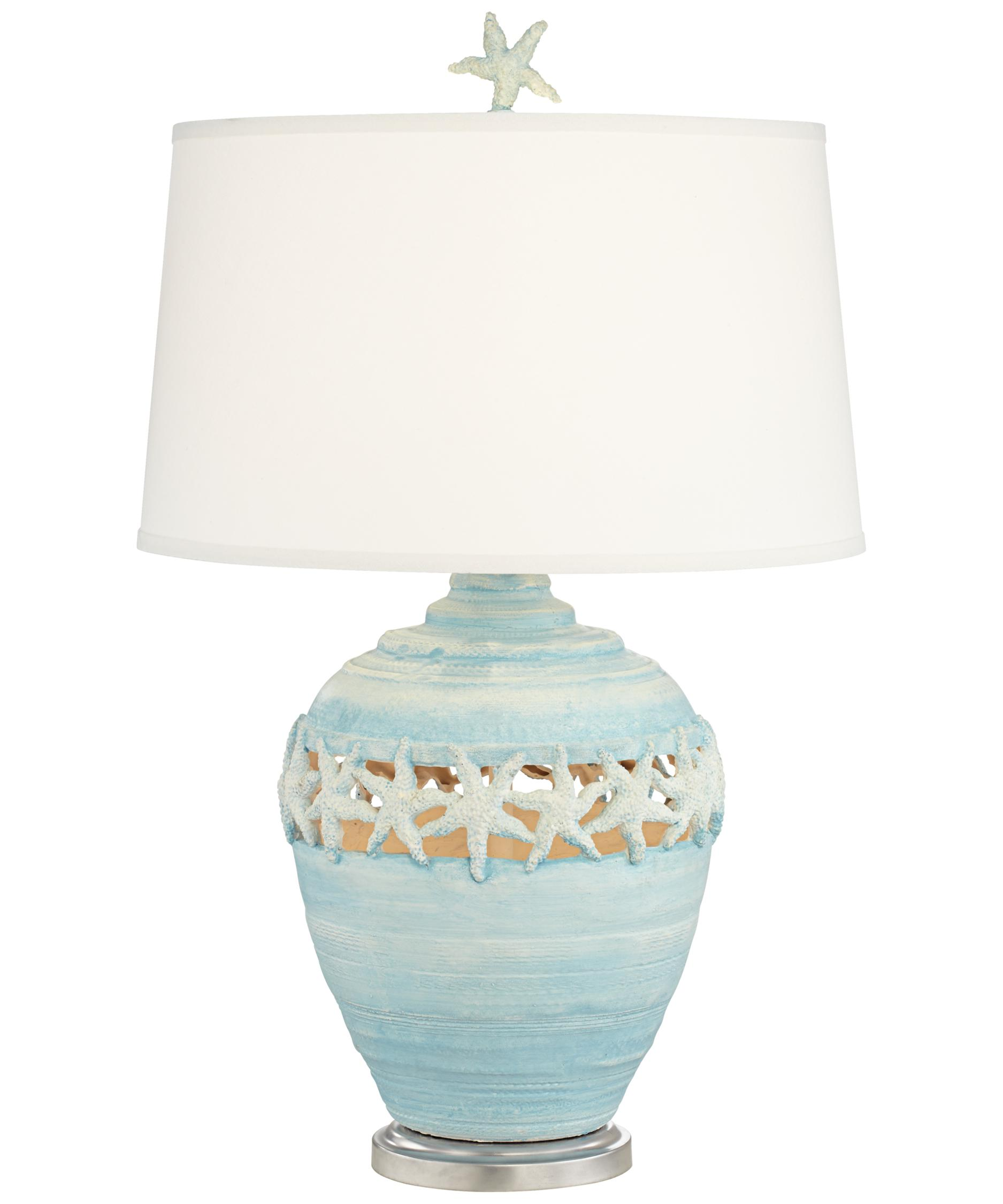 Shown In Blue Finish And Faux Silk Fabric Shade