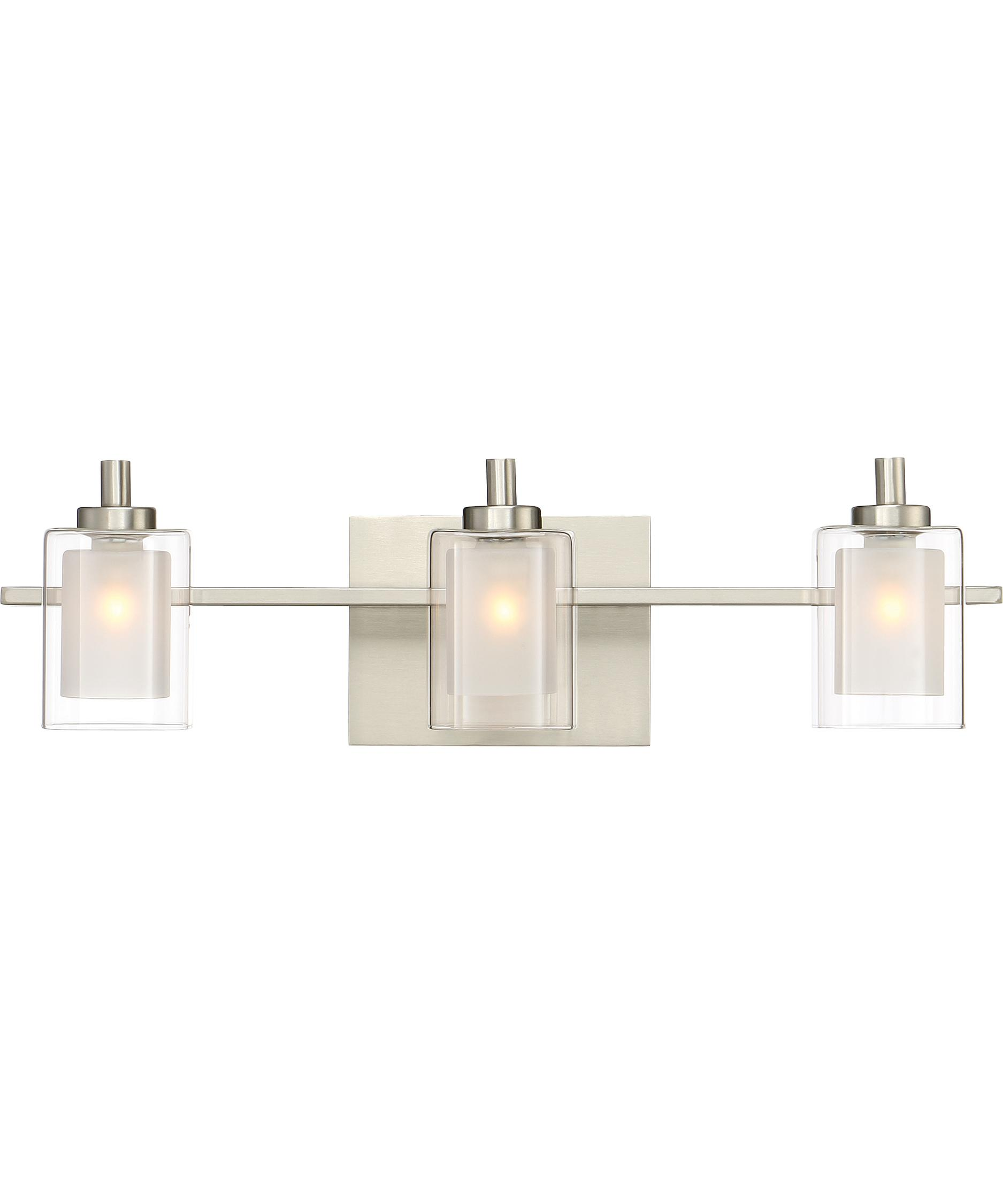 Shown In Brushed Nickel Finish And Outer Clear And Heavy Sand Blast Inner  Glass