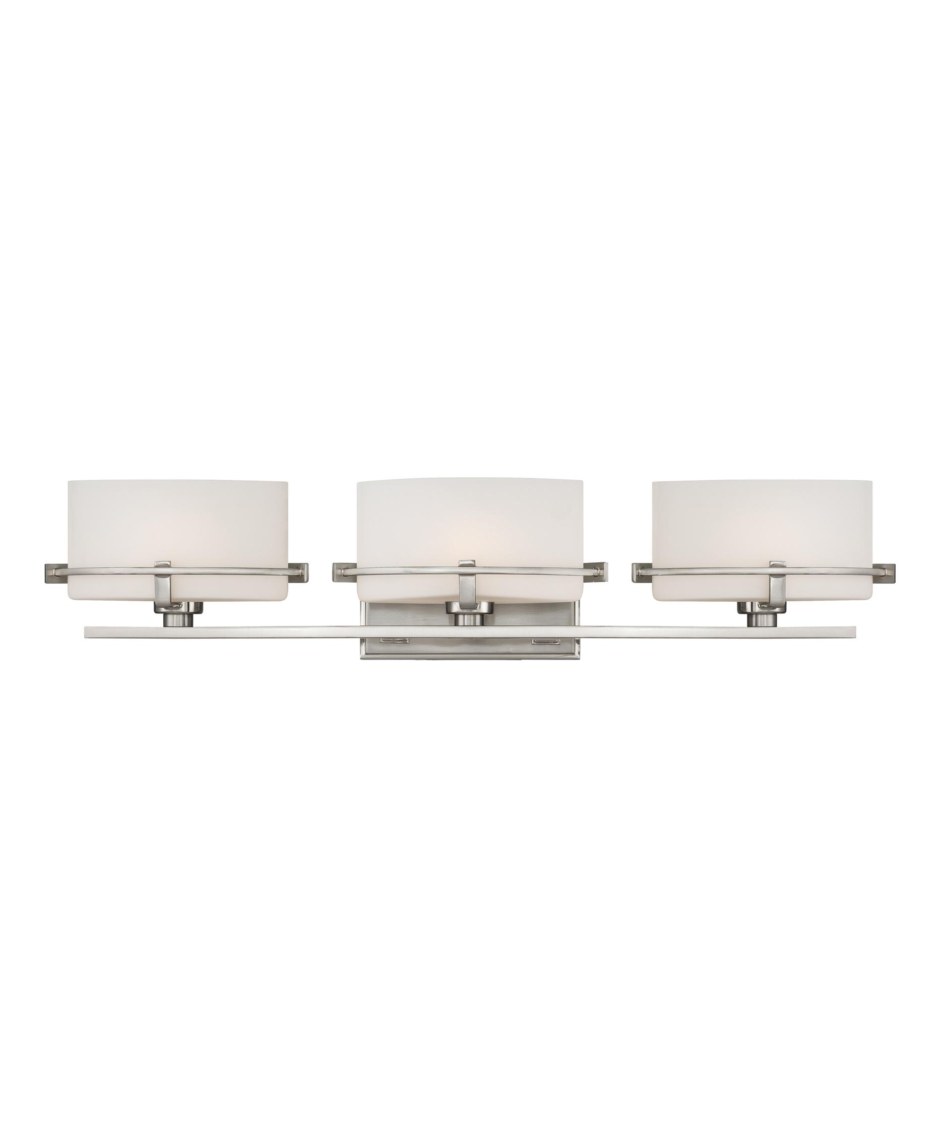 shown in brushed nickel finish and opal etched glass - Quoizel Bathroom Lighting