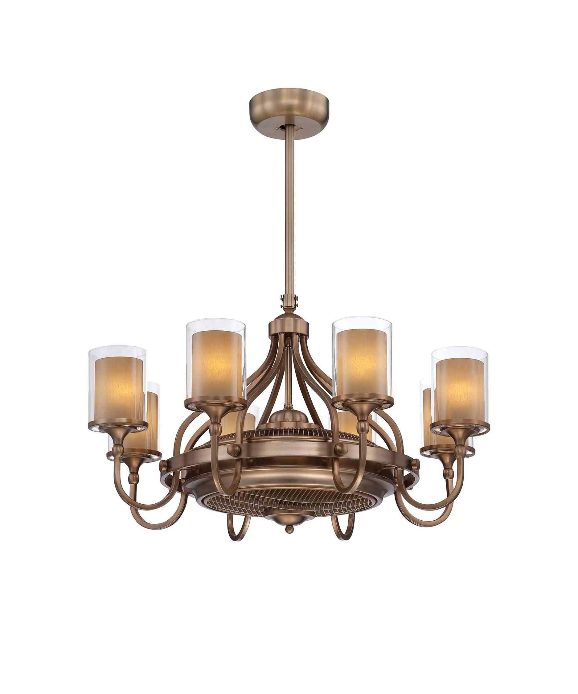 Savoy House Etesian 35 Inch Chandelier Ceiling Fan | Capitol ...:Shown in Burnished Russett finish and Clear Outer-Cream Inner glass,Lighting