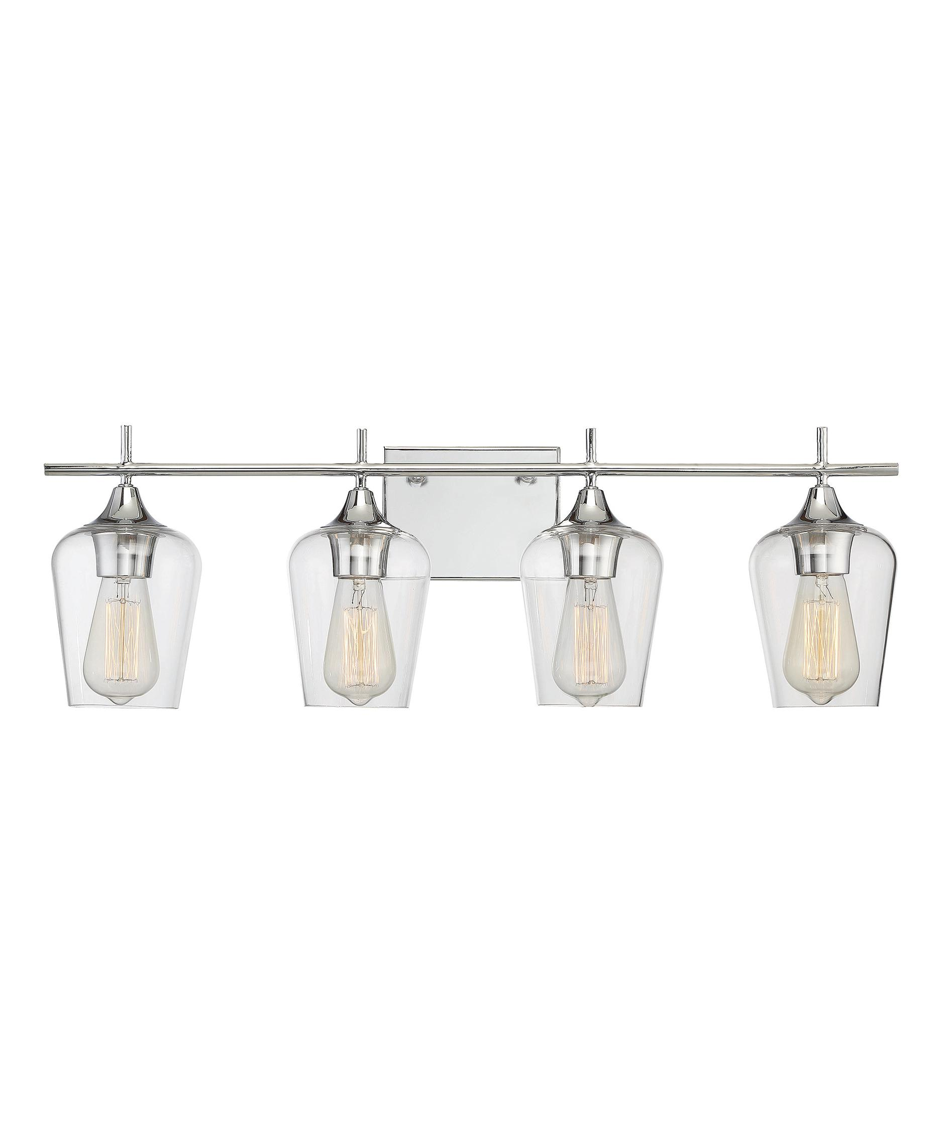 Shown in Polished Chrome finish and Clear glassSavoy House 8 4030 4 Octave 29 Inch Wide Bath Vanity Light  . Clear Glass Bathroom Vanity Lights. Home Design Ideas