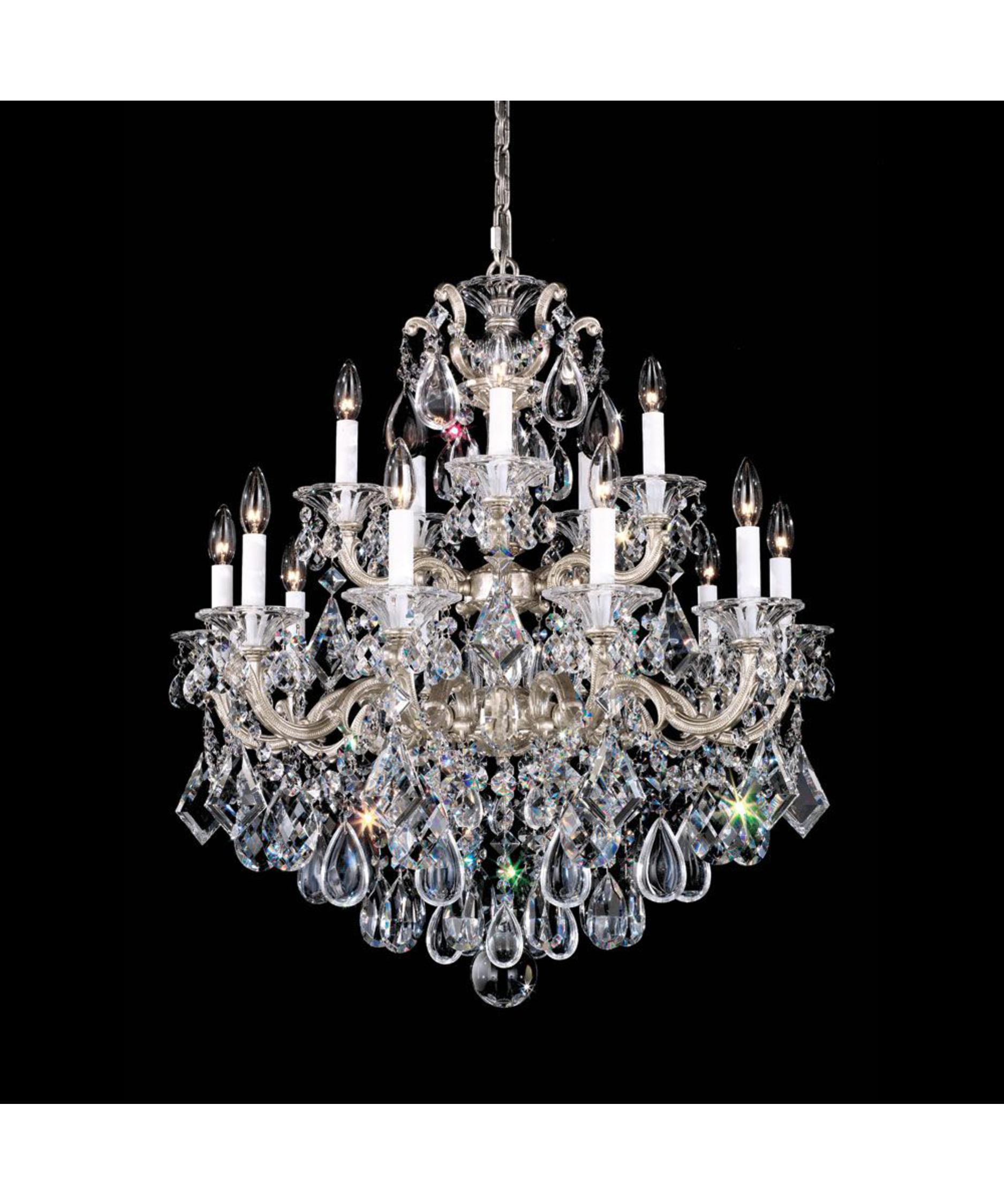 shown in antique silver finish with handcut crystal - Schonbek Chandelier