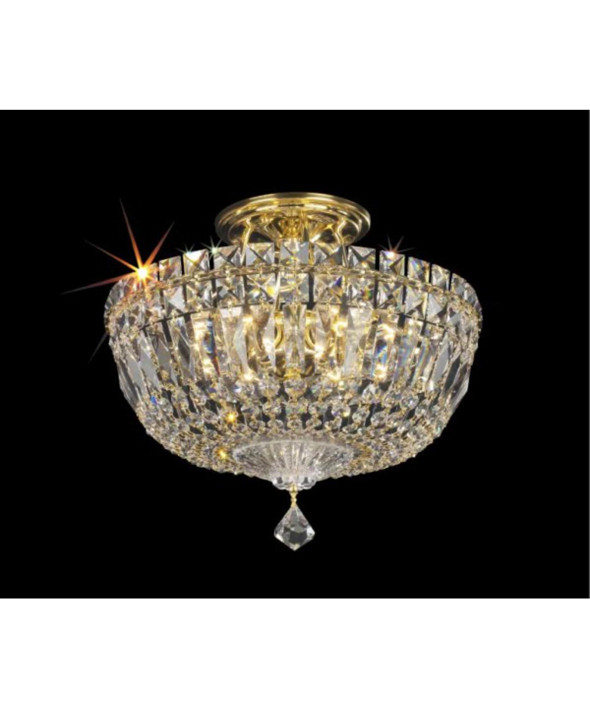 schonbek petit crystal deluxe 12 inch wide semi flush mount capitol lighting - Schonbek Lighting