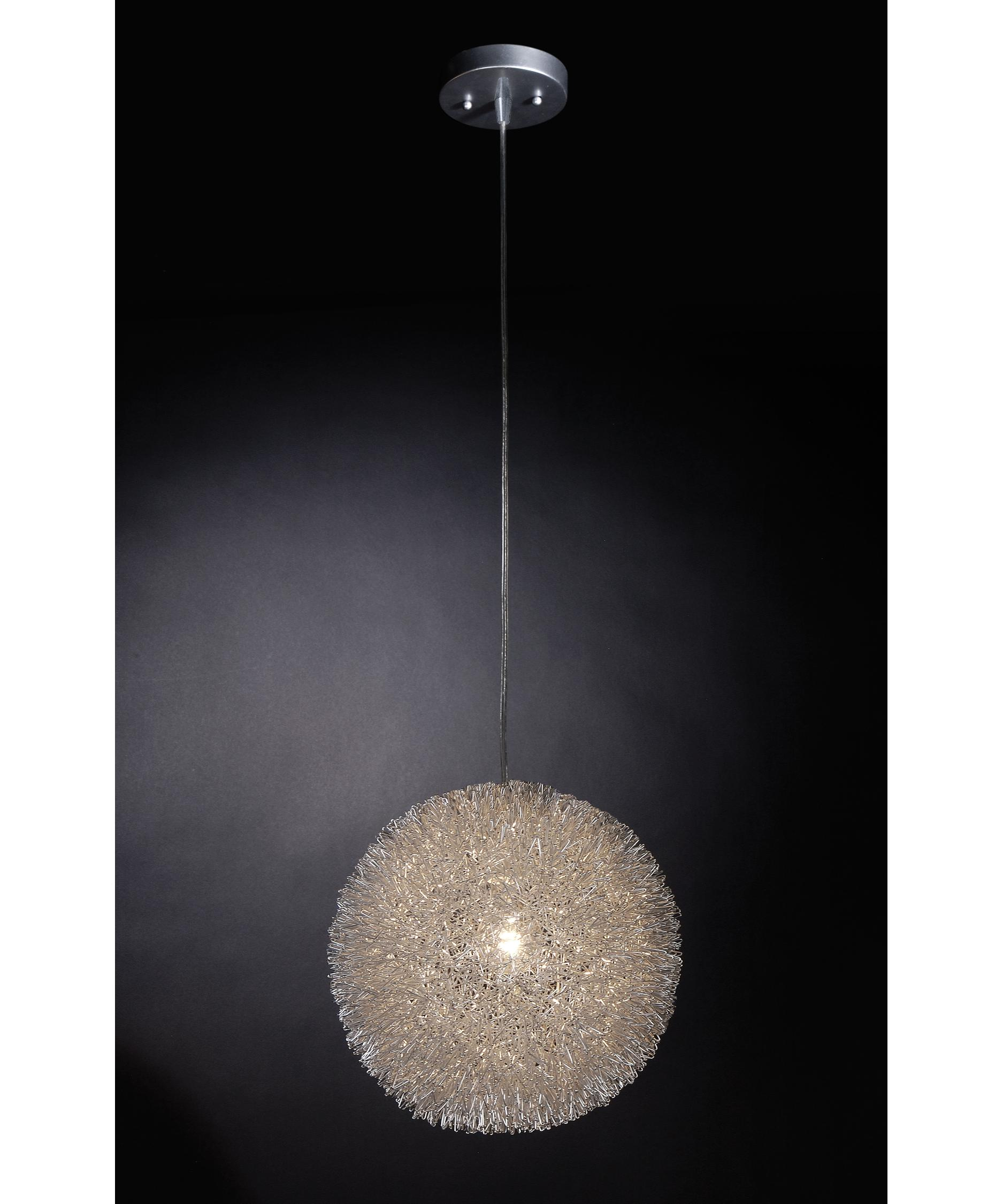 trend lighting bp luminary  inch wide  light large pendant  - shown in silver finish and woven aluminum strands shade