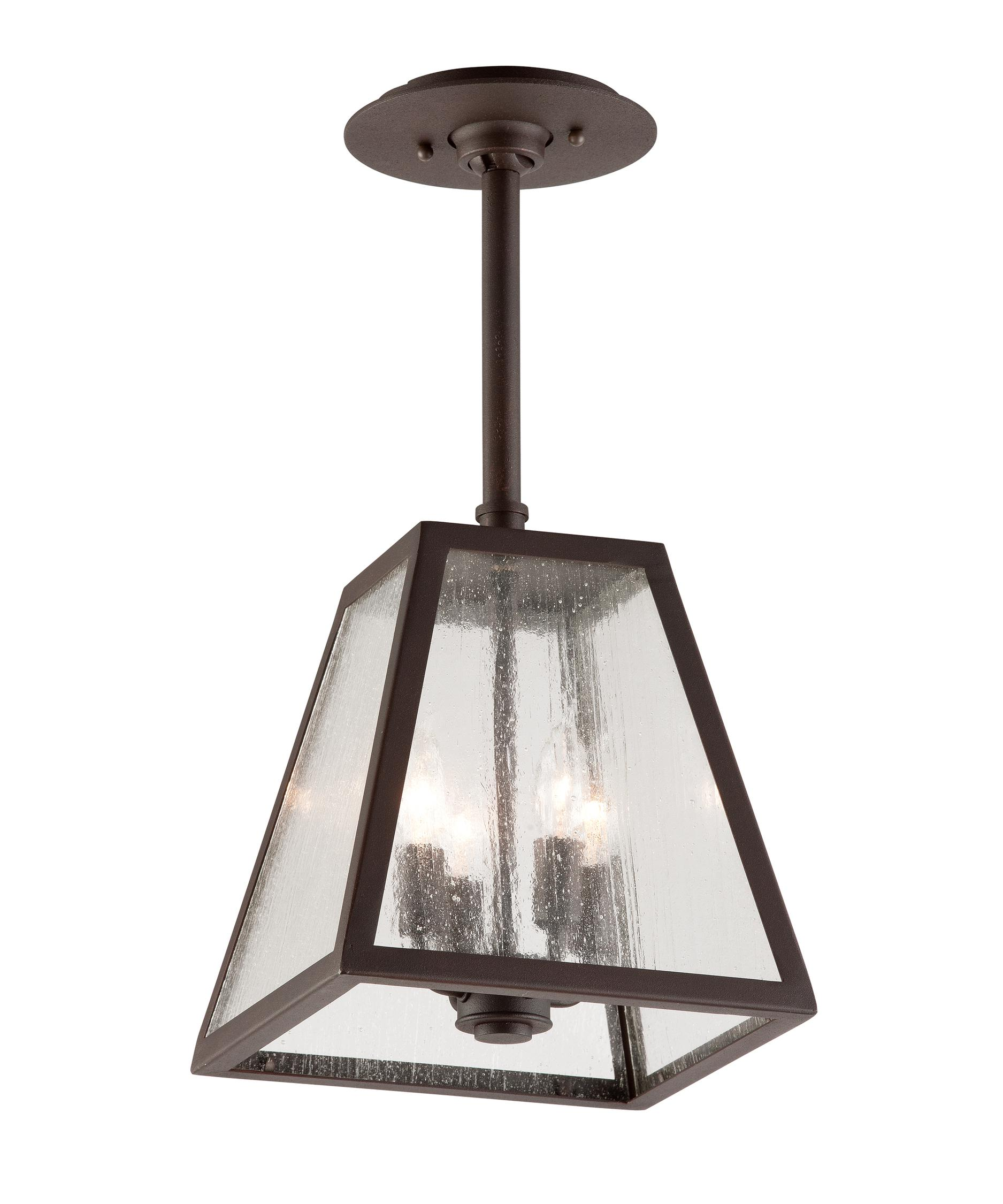 Outdoor hanging lamp - Shown In Coastal River Valley Rust Finish And Clear Seeded Glass