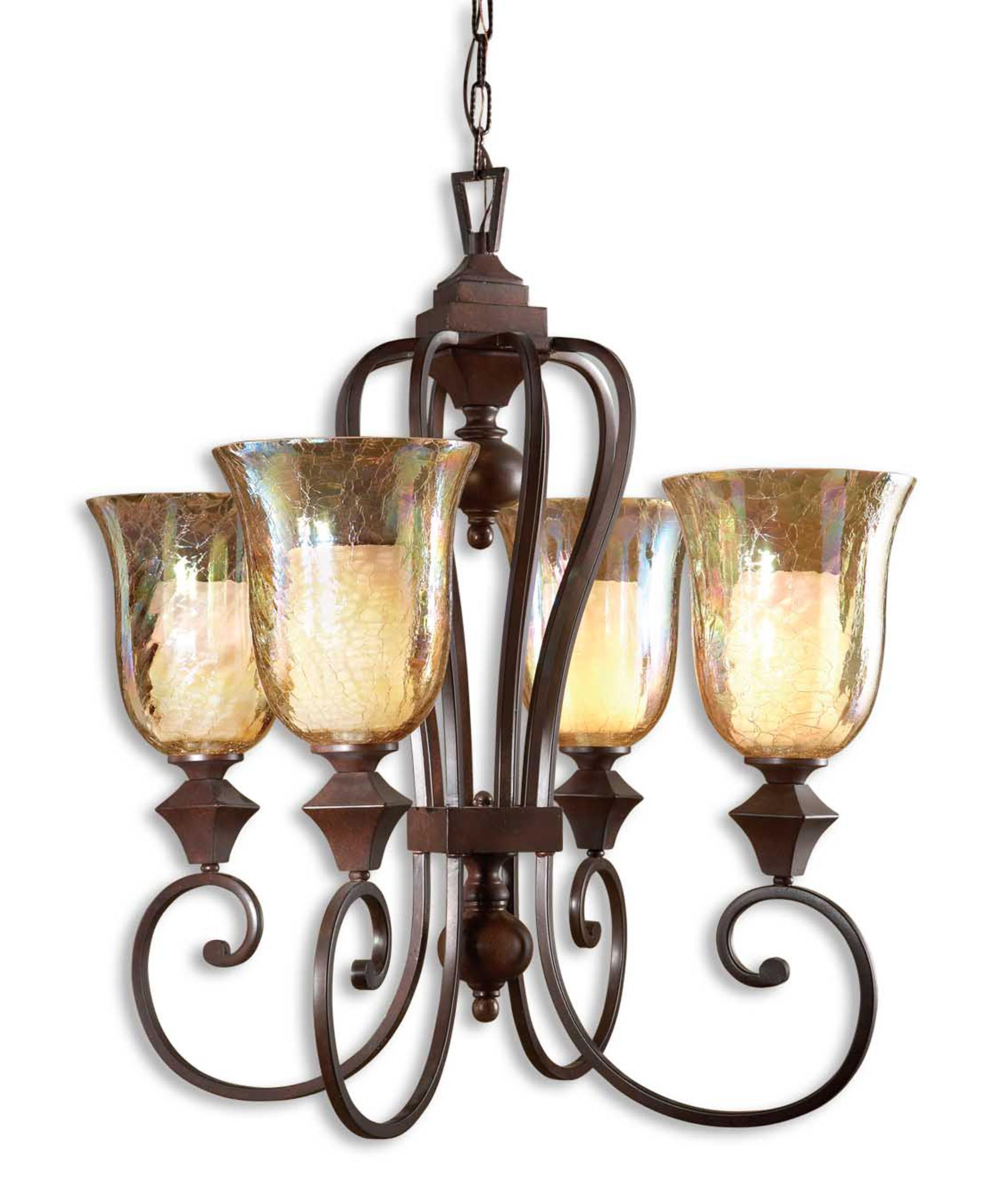 shown in spice finish and iridescent crackle glass - Uttermost Lighting