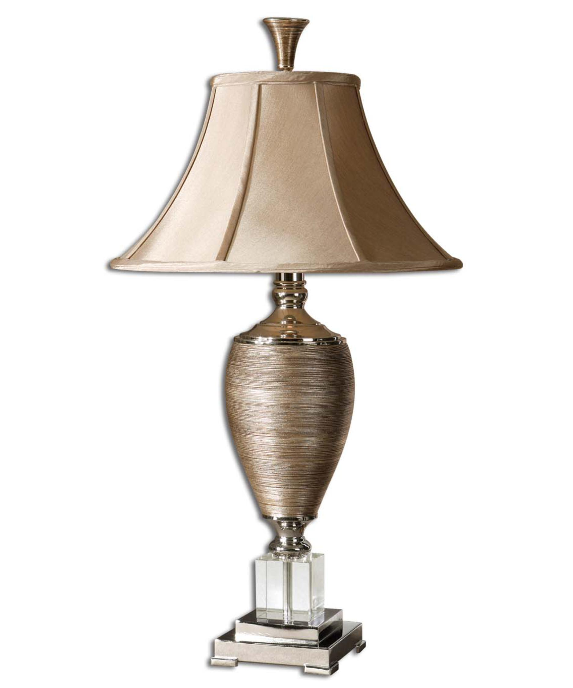 Shown In Metallic Gold Finish, Textured Porcelain Glass And Champagne  Fabric Shade