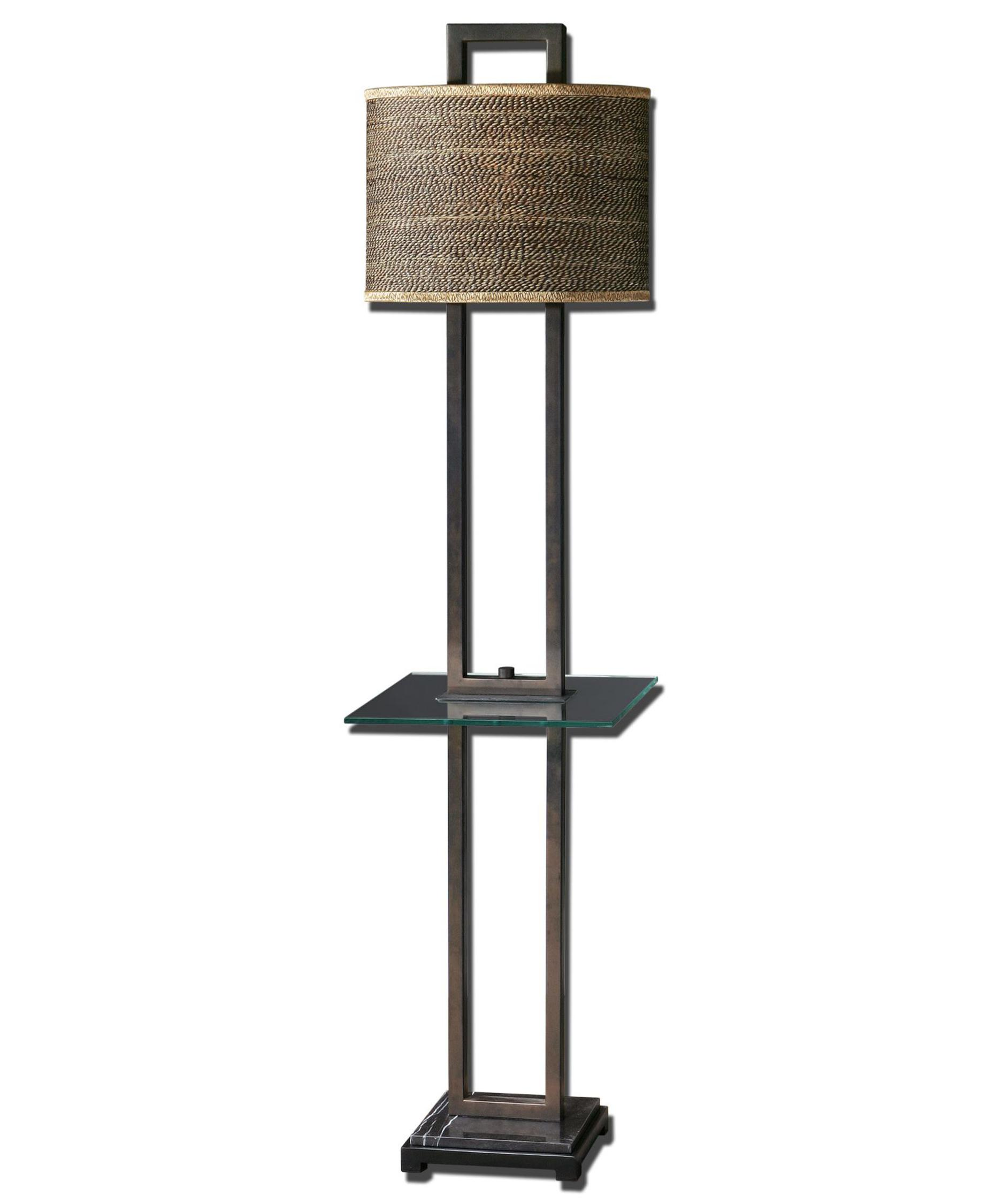 shown in bronze finish and oval drum shade