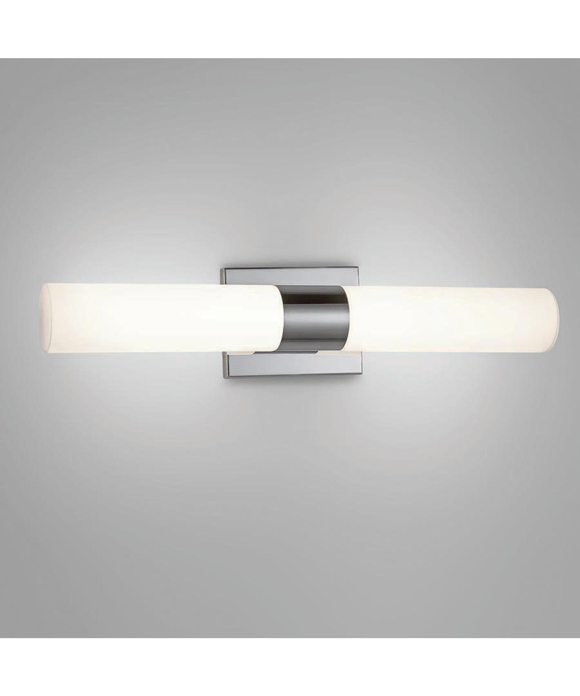 wac lighting ws elemental  inch wide bath vanity light  - shown in chrome finish with mouth blown etched triplex glass