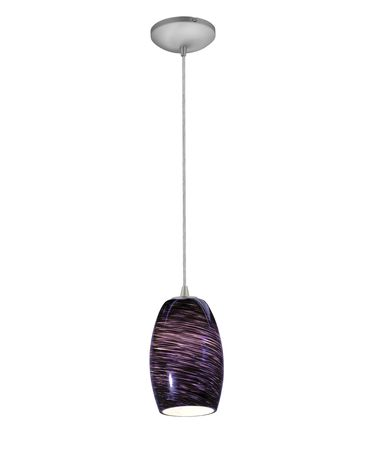 Shown in Brushed Steel finish and Plum Swirl glass