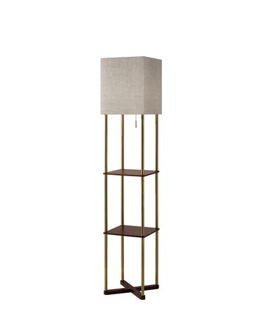 Shown in Antique Brass And Walnut Wood Paper Veneer finish and Textured Natural Fabric shade