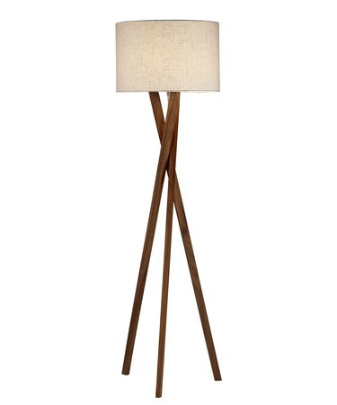 Shown in Walnut Wood finish and White Textured Linen shade