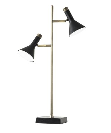 Shown in Black-Antique Brass finish and Black shade