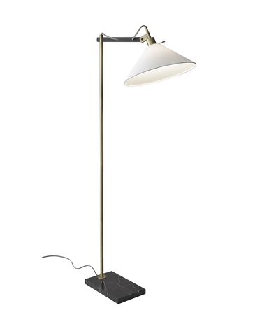 Shown in Antique Brass With Black finish and White Linen glass