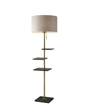 Shown in Antique Brass And Walnut Rubberwood finish and Beige Textured Fabric shade