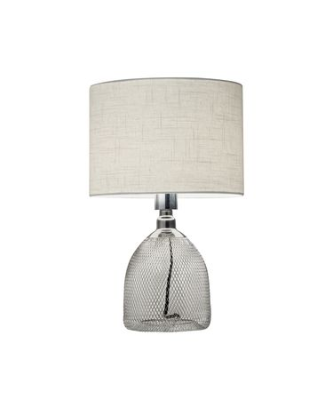Shown in Chrome finish and White Linen glass