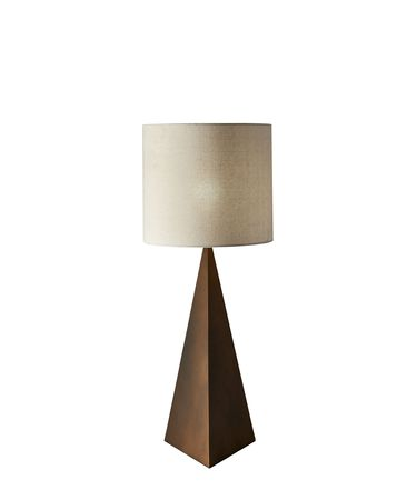 Shown in Aged Bronze finish and Natural Linen shade