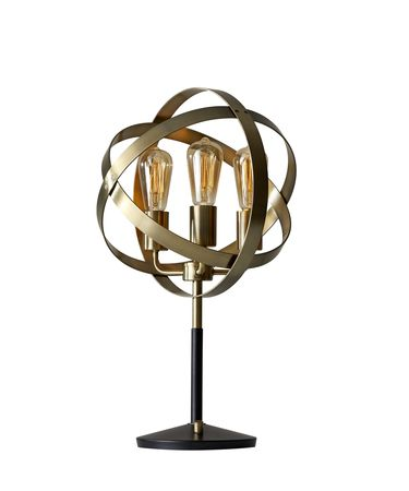 Shown in Antique Brass And Black finish and Antique Brass shade