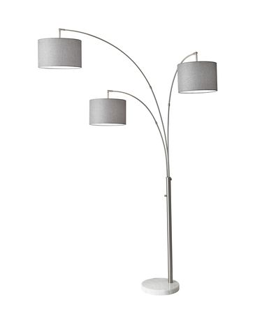 Shown in Brushed Steel finish and Grey Tweed-Like Linen shade