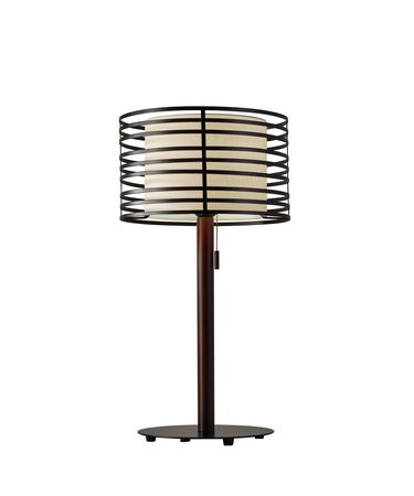 Shown in Walnut Pine Wood And Black finish and Black Metal-White Linen Inner shade