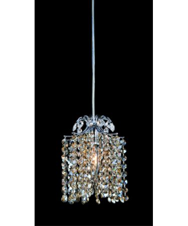 Shown in Polished Chrome finish and Firenze Clear with Golden Teak Accents crystal
