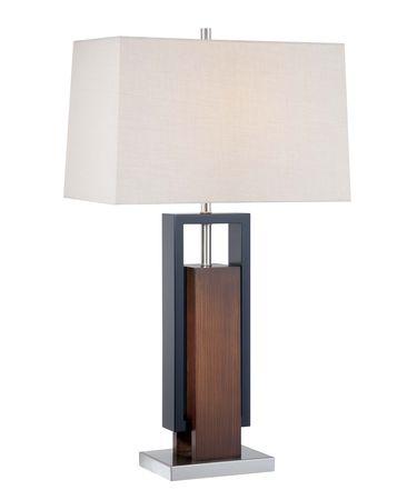 Shown in Dark Walnut-Black Wood- Polished Nickel finish and Tan Linen shade