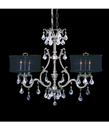 Shown in Antique Silver finish, Clear Precision Pendalogue crystal, Black shade and Matching Brass Candle Cover accent