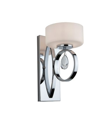 Shown in Chrome finish and Opal White glass