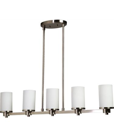 Shown in Polished Nickel finish, White glass and Crystal Bobeches accent