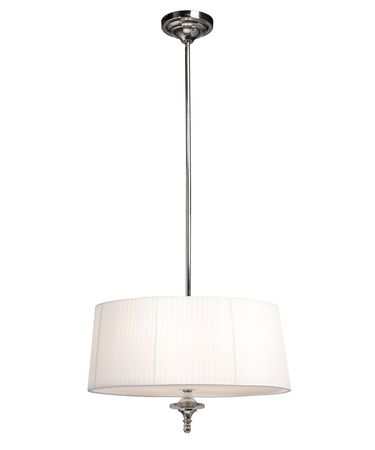 Shown in Chrome finish and Soft White Silk Ribboned shade