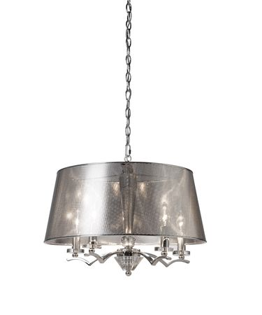 Shown in Chrome finish and White Pleated shade
