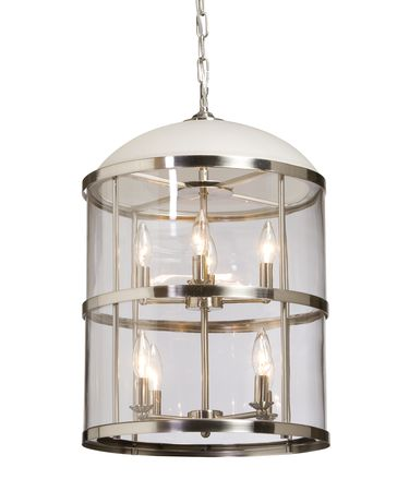 Shown in Polished Nickel finish, Clear Cylindrical Glassware glass and Silver Grey Silk String shade