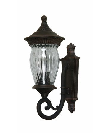 Shown in Bronze finish and Clear Seeded Ribbed glass