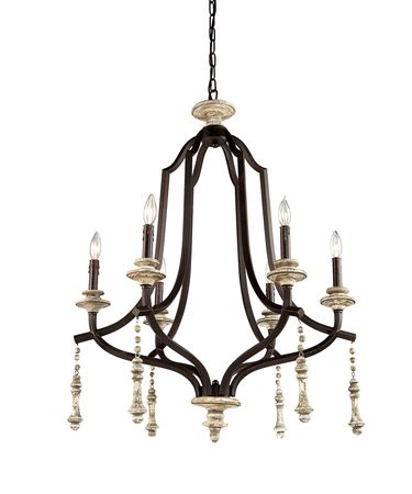 Shown in Distressed Wood finish and White Linen shade