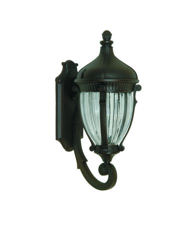 Shown in Oil Rubbed Bronze finish, Optic Clear glass and Organza Silk shade