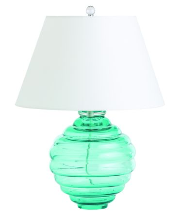 Shown in Turquoise finish, Blue glass and Ivory shade