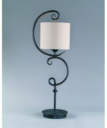 Shown in Wrought Iron finish and Fabric shade