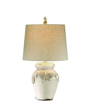 Shown in Crackled Ivory Ceramic finish and Fabric shade