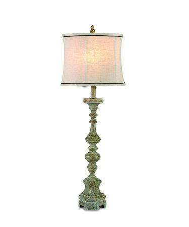 Shown in Rusticated Green finish and Fabric shade